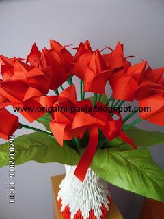 tulipany, czerwone, papier, origami
