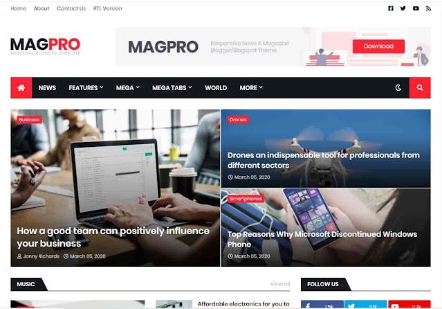 MagPro - Responsive News & Magazine SEO Blogger Template