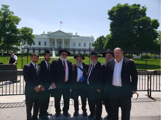 Contingent of Chabad rabbis at the White House. Rabbi Yeruchem Eilfort is third from left