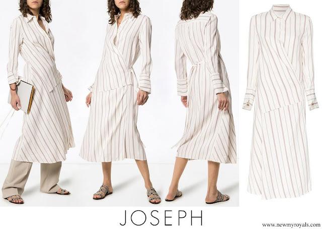 Queen Rania wore JOSEPH Claudi Asymmetric Striped Poplin Wrap Dress