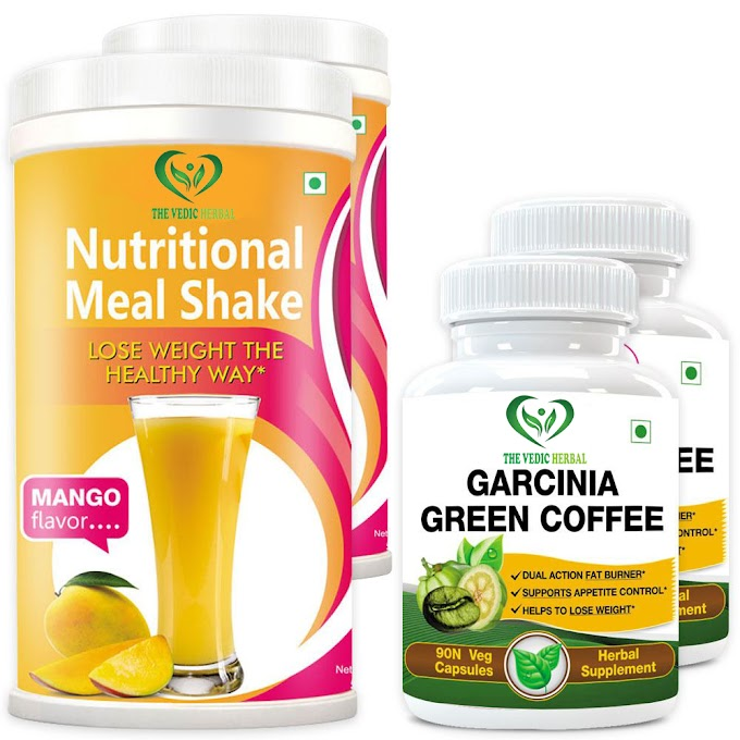 TheVedicHerbal GARCINIA GREEN COFFEE 500MG EXTRACT + NUTRITIONAL MEAL REPLACEMENT SHAKE (2+2 BOTTLES)