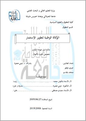 مذكرة ماستر: الوكالة الوطنية لتطوير الإستثمار PDF