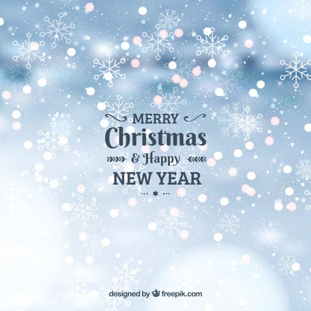 Happy christmas bokeh background Free Vector