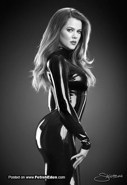 Black latex picture of Khloe Kardashian in black latex catsuit