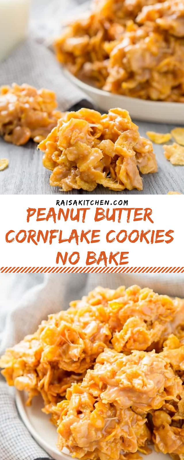 Peanut Butter Cornflake Cookies (no bake)