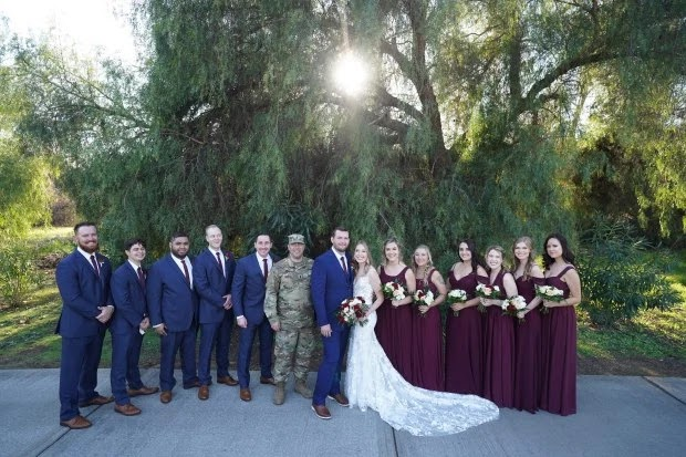 "Steven Marec was surprised on his wedding day by his best man, who he thought was deployed overseas. Anthony ""AJ"" White appeared from the bushes"