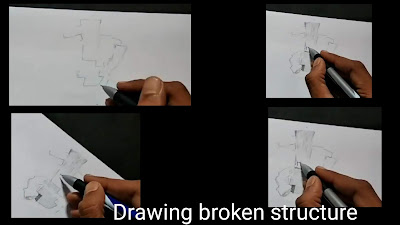 Drawing broken walls, step by step tutorial for to draw broken walls, easy drawing of broken walls, easy drawing for kids, walls structure draw
