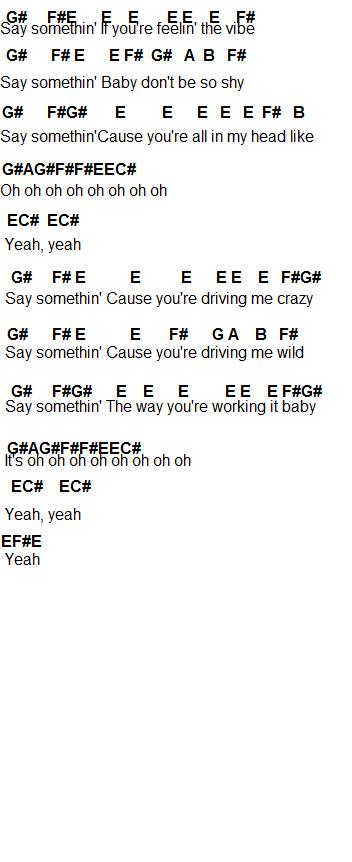 Piano piano chords say something : Flute Sheet Music: Say Somethin