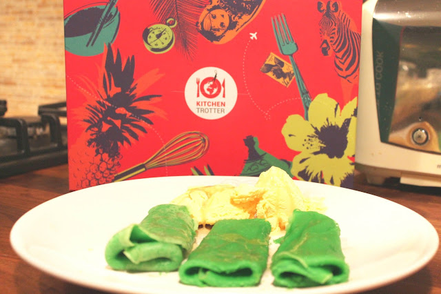 Kue Dadar Gulung Indonesian green crepe pudding