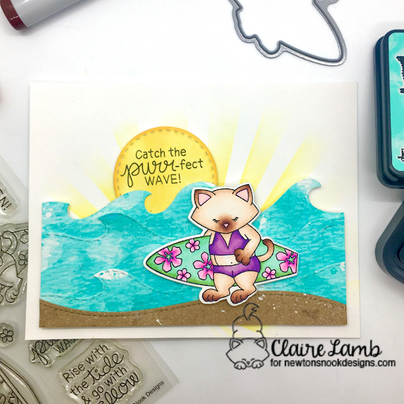 Catch the purr-fect wave by Claire features Newton's Perfect Wave, Land Borders, Sea Borders, and Frames Squares by Newton's Nook Designs; #inkypaws, #newtonsnook, #cardmaking, #catcards
