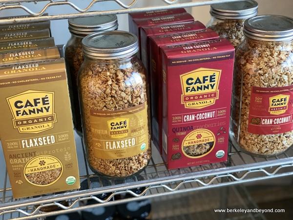 Cafe Fanny granola shelf at Zazzi Foods in Berkeley, California