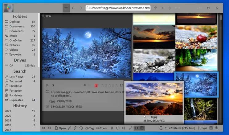 Diffractor :  Προβολή, σύγκριση και αναζήτηση φωτογραφιών ή βίντεο στον υπολογιστή σας.