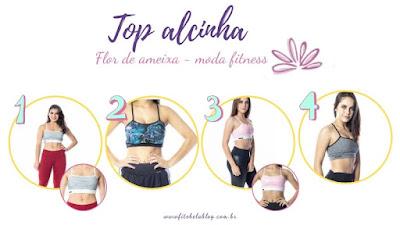 Tendência - top alcinha - Flor de Ameixa moda fitness