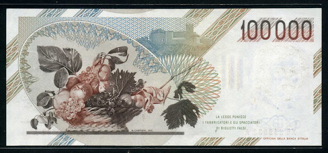 Italy foreign money 100000 lire banknote