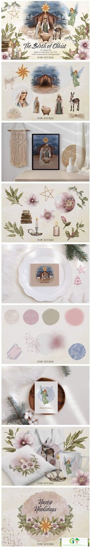 Religious Christmas Birth Jesus Nativity [Vector] [Holiday & Party]