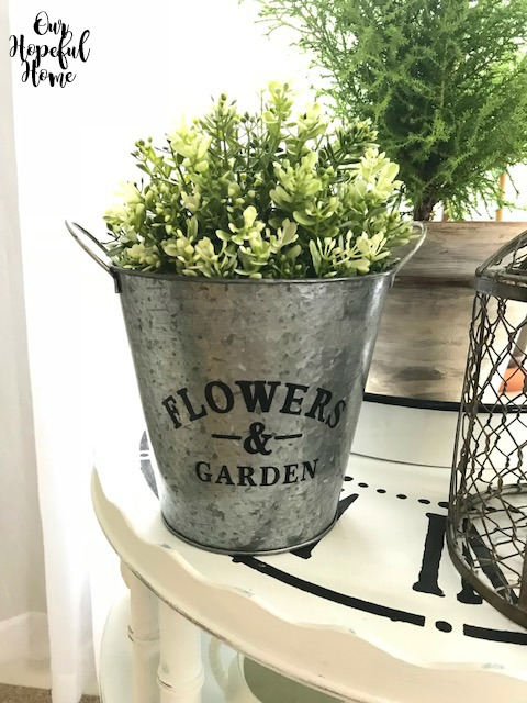 Flowers and garden galvanized pail handles