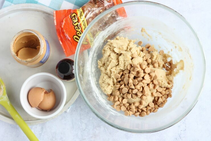 Peanut butter chips in cookie dough
