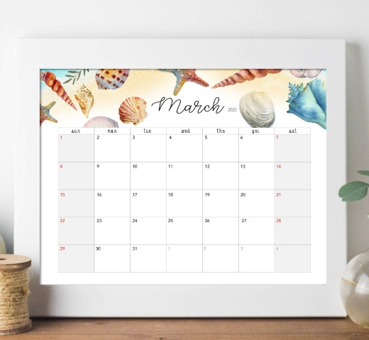 Printable Download Ocean Sea Life Calendar 2020