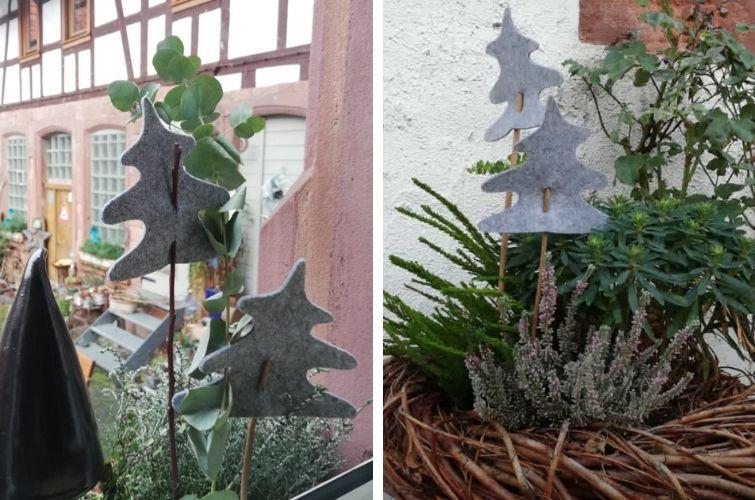 Filz-Christbäume Pflanzenstecker