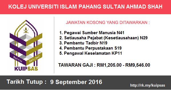 Jawatan Kosong di Kolej Universiti Islam Pahang Sultan Ahmad Shah (KUIPSAS)