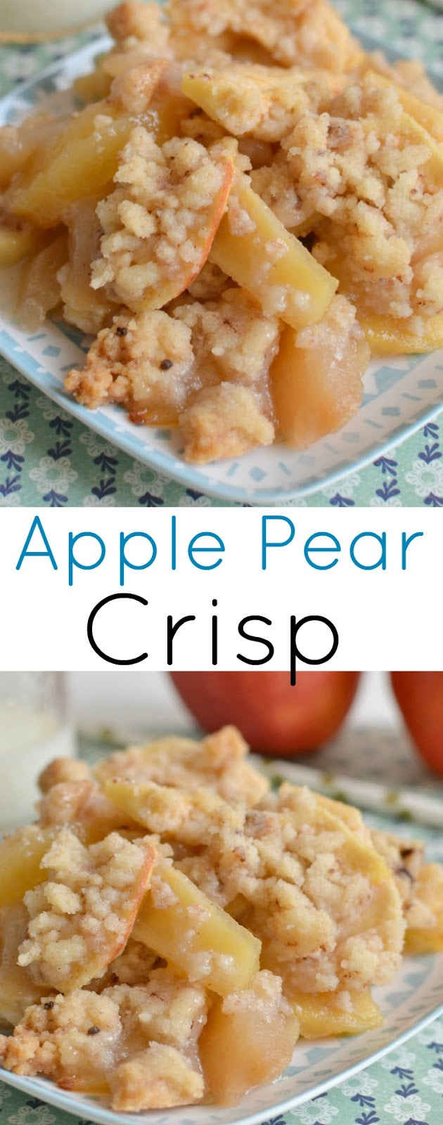 A fall family favorite dessert that's tried and true! The crispy topping is buttery and sweet and the pears and apples are a perfect combo!