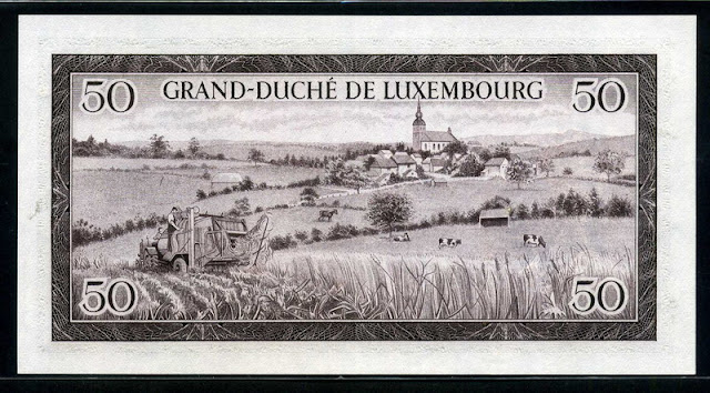 Luxembourg paper money 50 Francs note bill