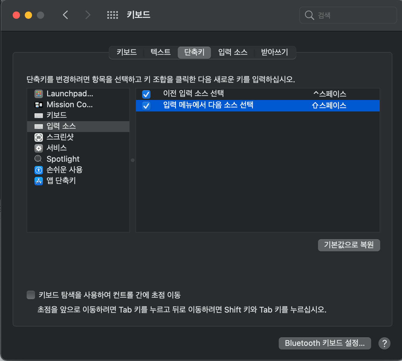 [macOS] macOS Big Sur에서 Shift + Space로 한영 전환 설정하기