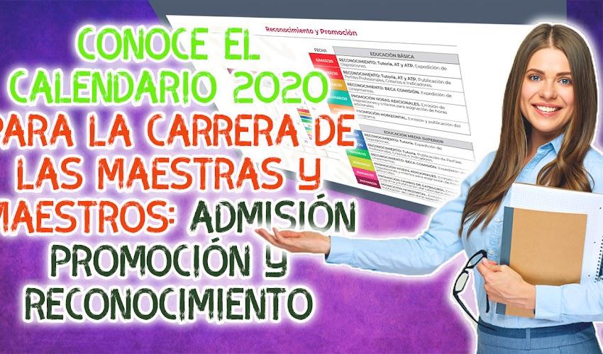 Calendario anual de los procesos de selección para la admisión, la promoción y el reconocimiento del Sistema para la Carrera de las Maestras y los Maestros, 2020