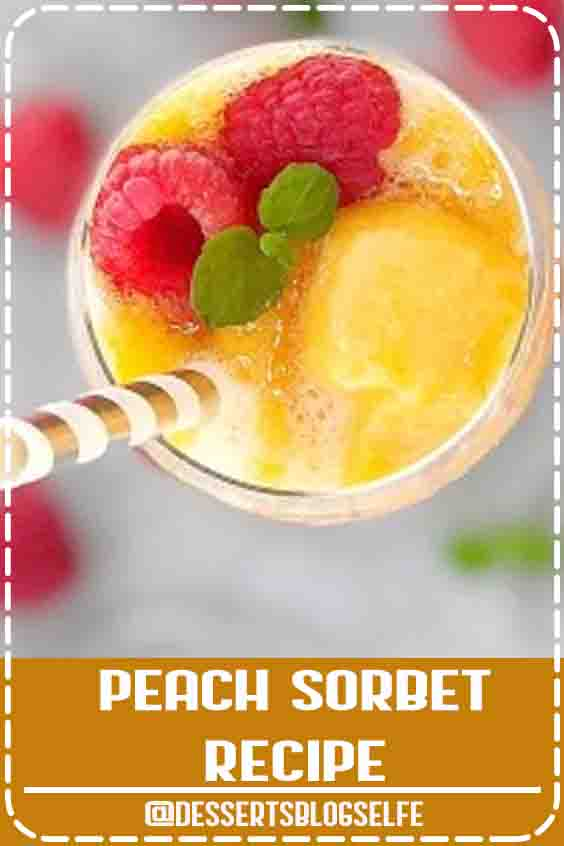 This easy peach sorbet recipe is a simple 3 ingredient peach sorbet that tastes like summer in a bowl, with no need for an ice cream maker or to make a sugar syrup! It's also dairy free! #DessertsBlogSelfe #chefnotrequired #peaches #icecream #sorbet #easyrecipes #cold #SummerDesserts #cream #recipes
