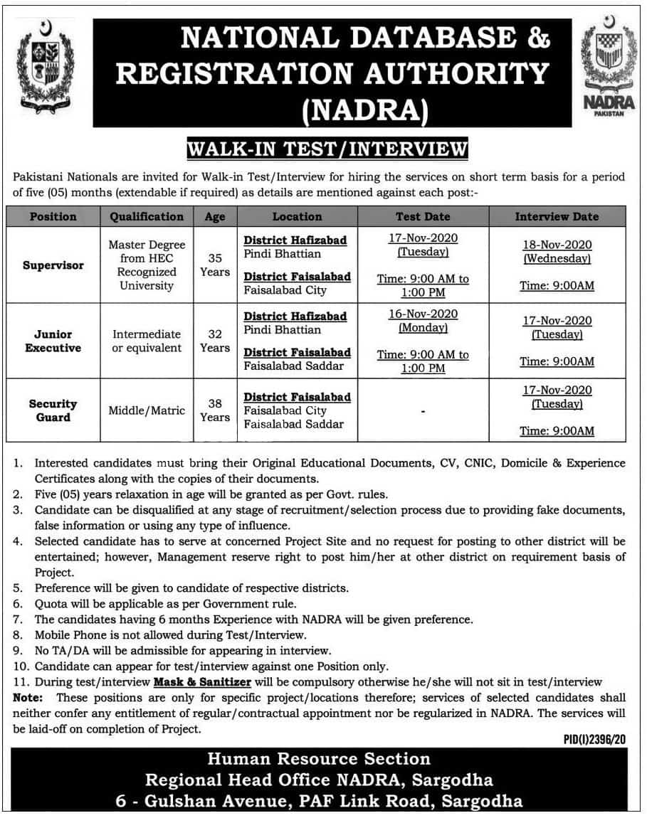 Walk in Interview in National Database and Registration Authority NADRA 2020