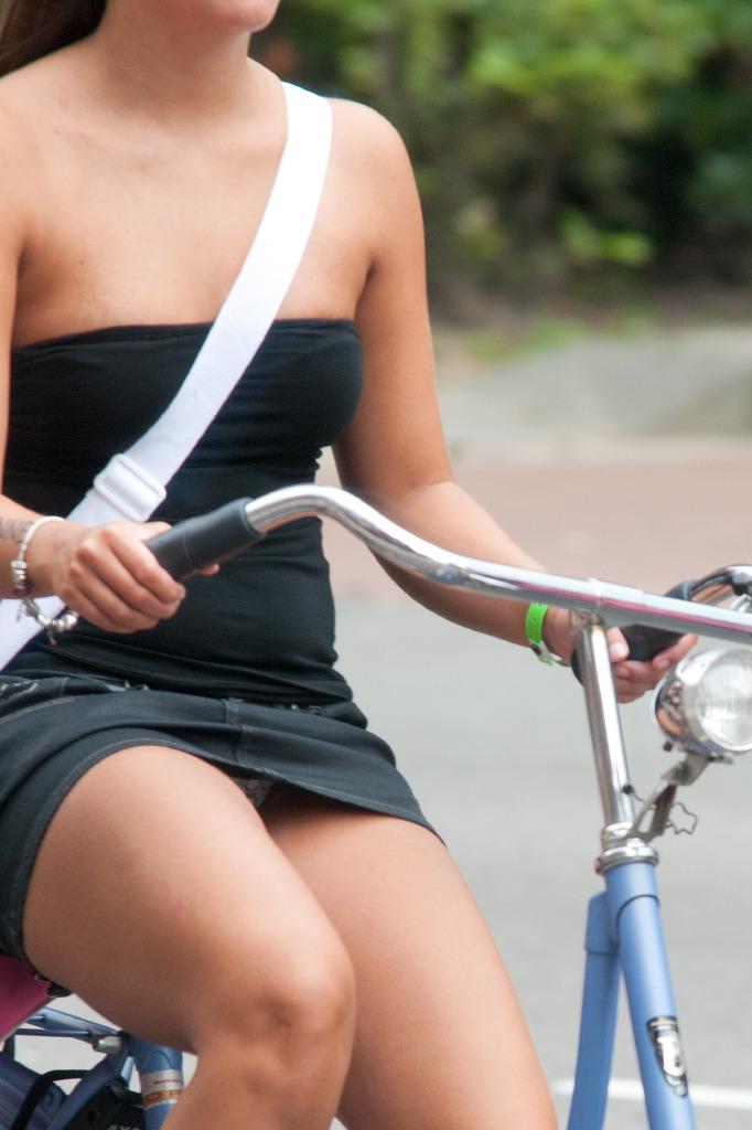 on bikes upskirt girls