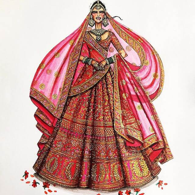09-Indian-Dress-Drawings-Anoopbarwa-www-designstack-co