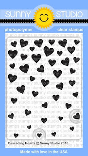 Sunny Studio Stamps: Introducing Cascading Hearts 3x4 Background Stamps