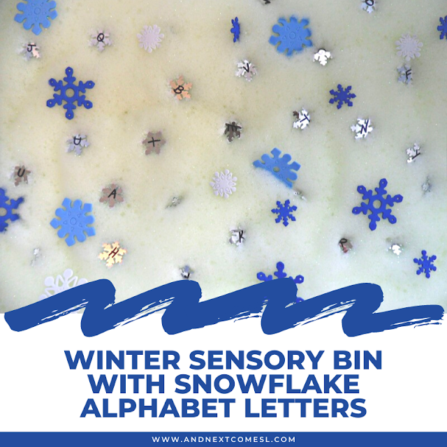 Winter sensory bin idea with snowflake alphabet letters