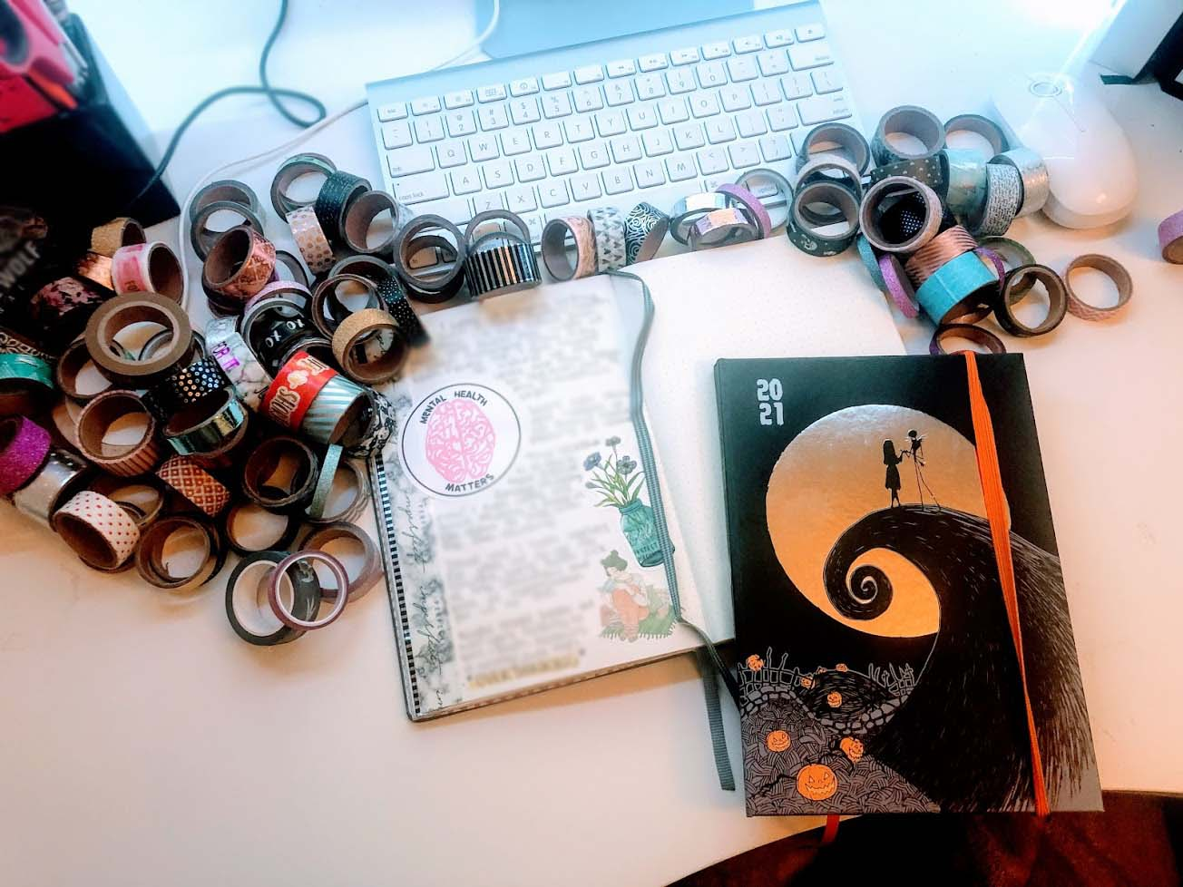 Journal, washi tape and a diary
