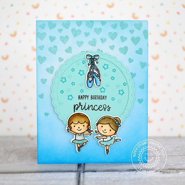Sunny Studio Stamps: Cascading Hearts Tiny Dancer Happy Birthday Princess Card by Lexa Levana