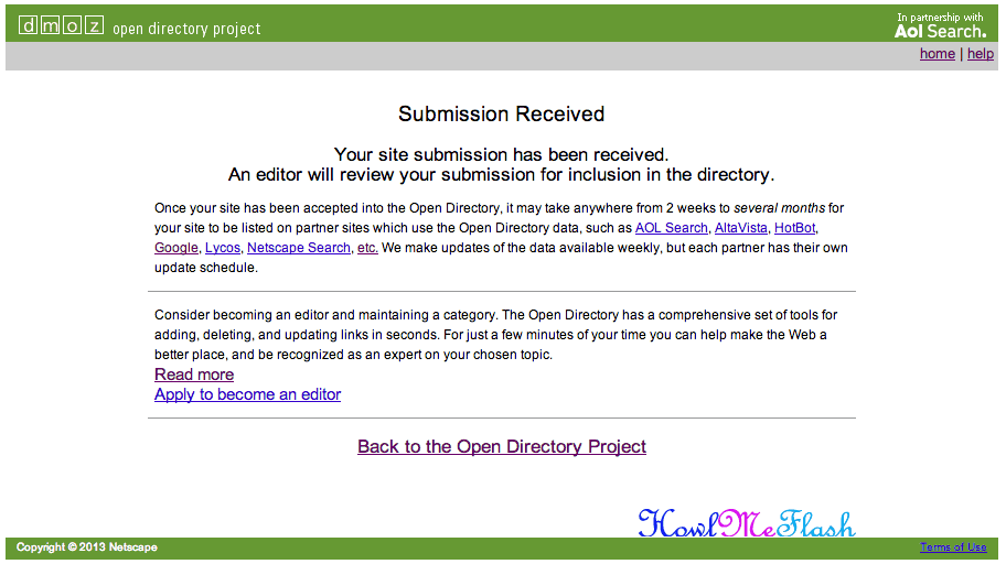 dmoz submission received