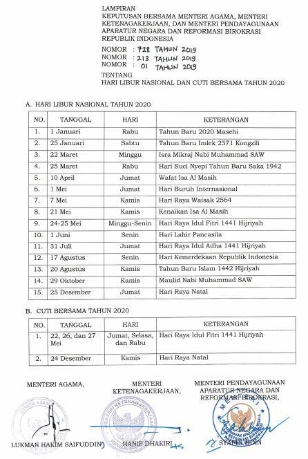Daftar Hari Libur Nasional dan Cuti Bersama Tahun 2020 Berdasarkan SKB 3 Menteri