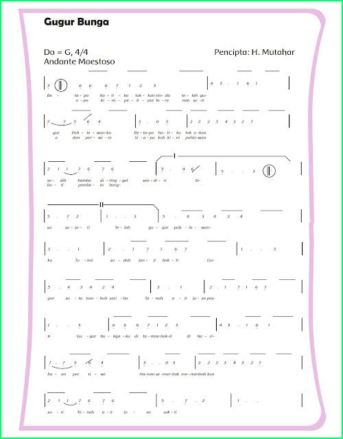 lagu gugur bunga bertangga nada diatonis minor kelas 5 sd tema 2 subtema 1 pembelajaran 5