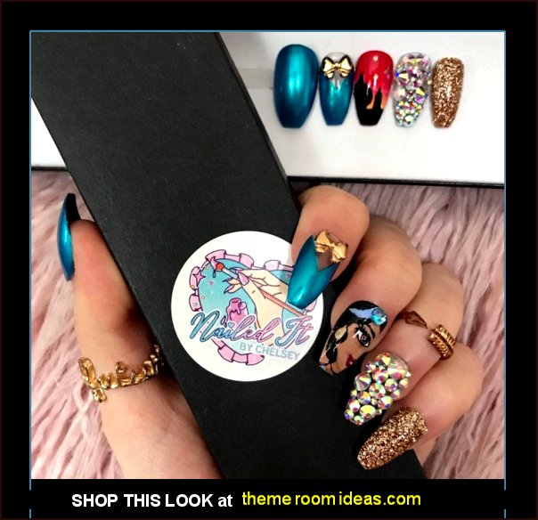 Princess Jasmine Hand Painted False Nails - disney Princess Jasmine nal decorations