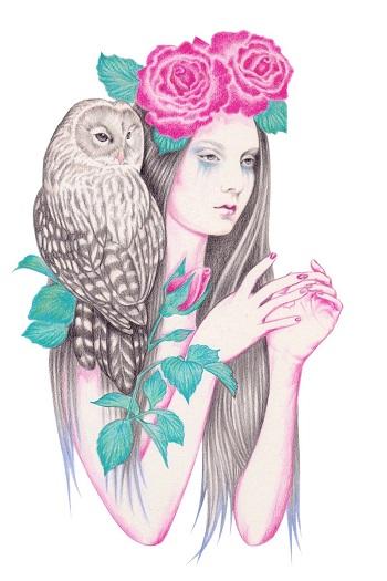 """Blossomtime"" by Andrea Hrnjak | dibujos bonitos a lapiz | imagenes lindas | illustration art | mujer con flores"