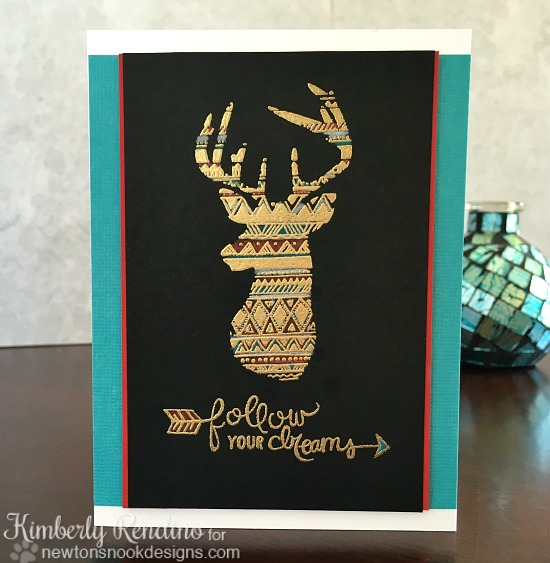 stag | embossing | tribal patterns | clear stamps | handmade card | newton's nook designs | kimpletekreativity.blogspot.com