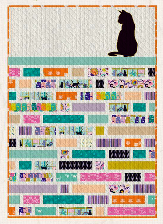 Cat Walk Quilt designed by Jessica Swift for Live art gallery fabrics, featuring Oh, Meowi Collection
