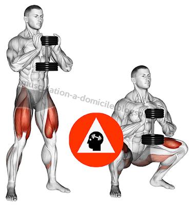 exercice musculation  squat gobelet haltère