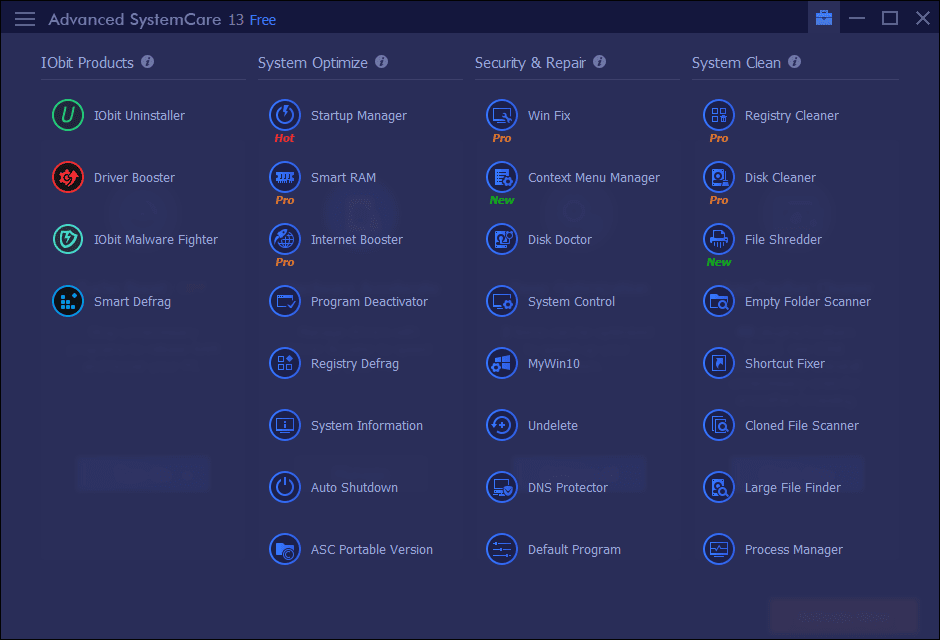 Advanced SystemCare Toolbox Screenshot