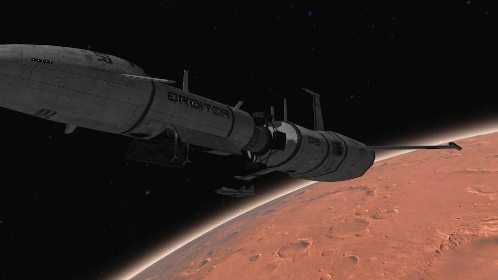 Spaceplane docking to cargo spaceship in Mars orbit from Orbiter space flight simulator