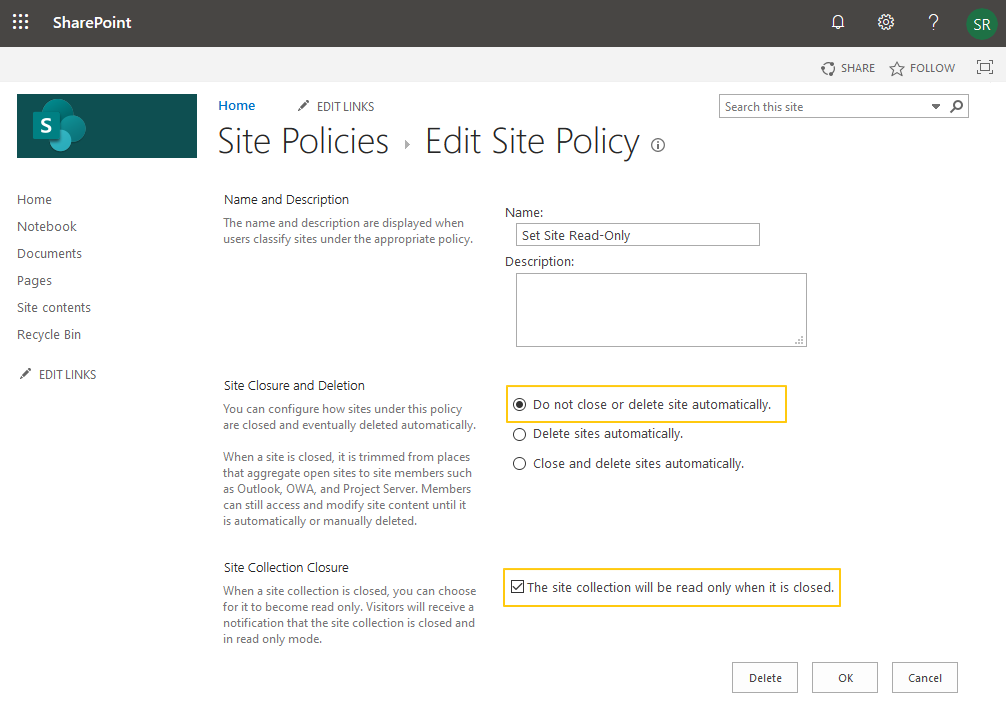 sharepoint online create site policy powershell