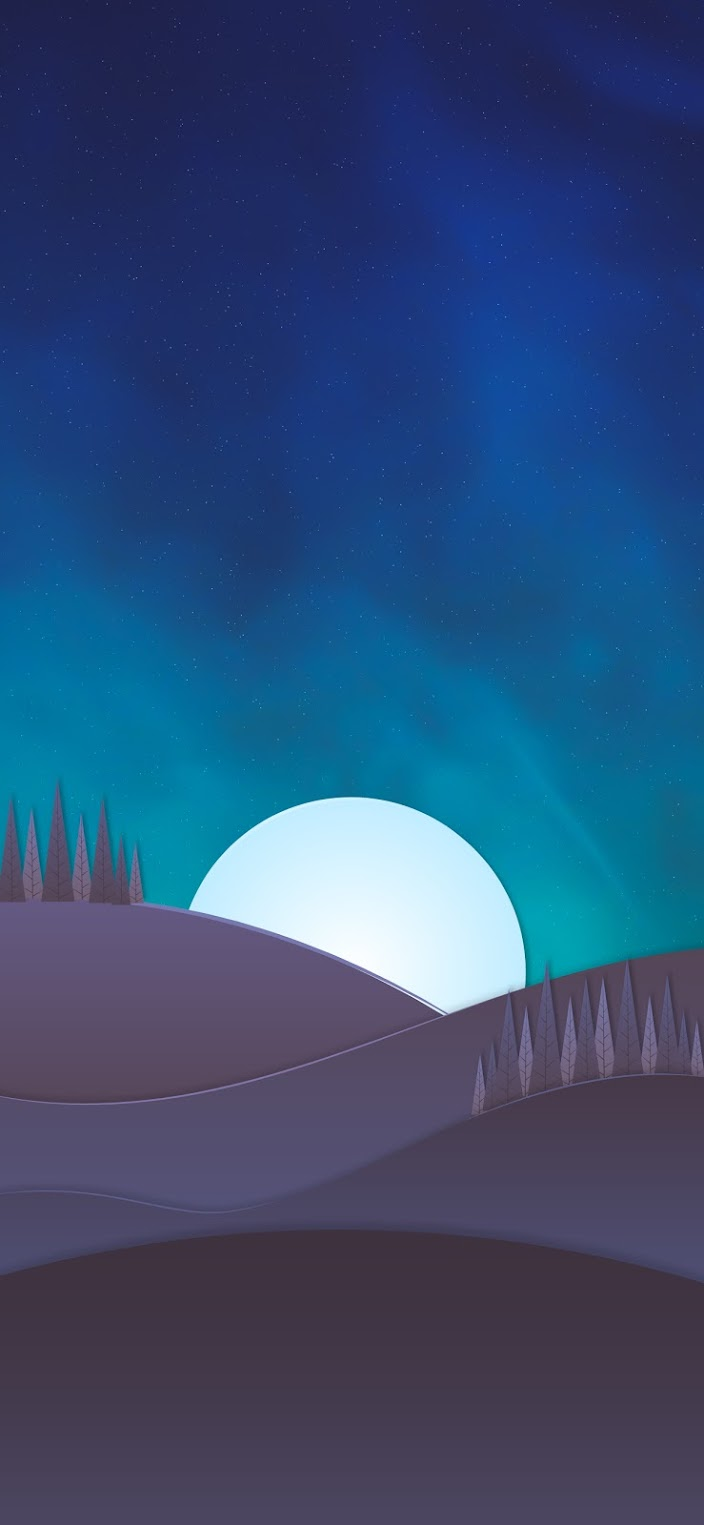 Minimalist night moon mountain and tree pines