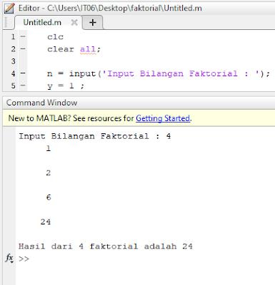 Contoh Program Perhitungan Faktorial dengan MATLAB