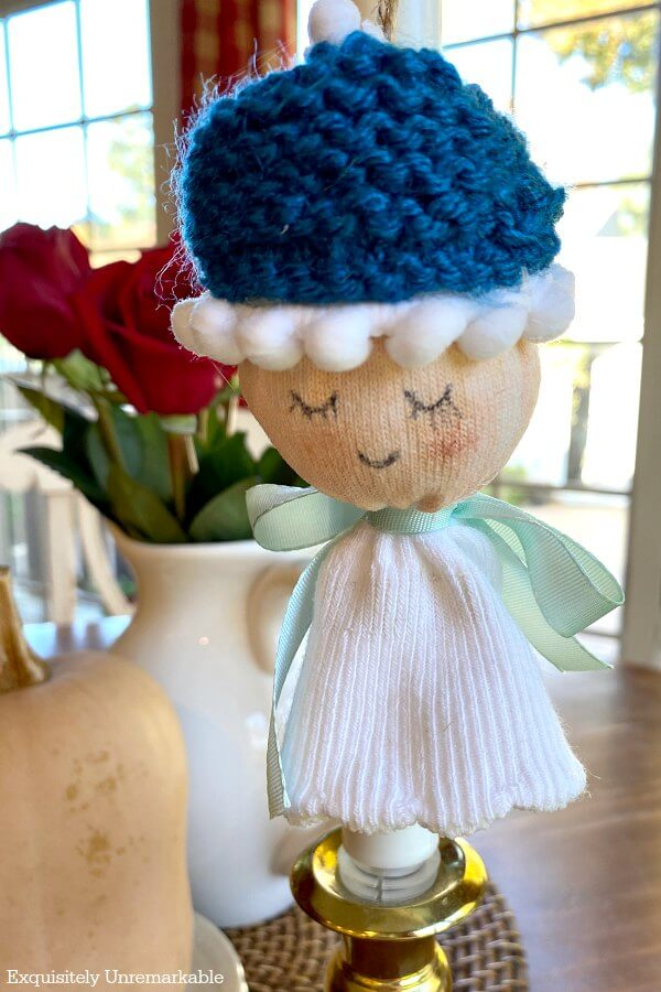 Sock Angel Ornament With Knit Cap